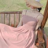 春裝新款法式吊帶收腰連衣裙女超仙的初戀溫柔甜美雪紡長裙夏 時尚芭莎
