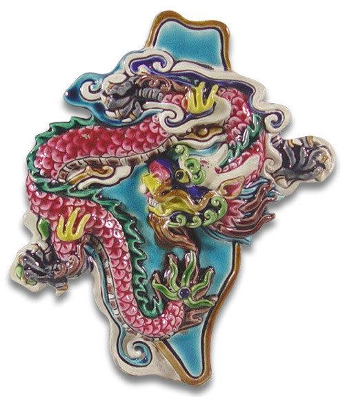 鹿港窯-交趾陶居家開運裝飾壁飾~M龍升太平~庇佑台灣