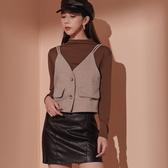 IN SHOP毛呢假口袋背心+中領上衣兩件式-共2色【KT221499】