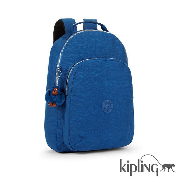 Kipling 酷藍素面後背包-大