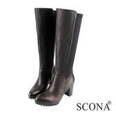 SCONA 全真皮 簡約萊卡拼接高跟長靴 黑色 8777-1