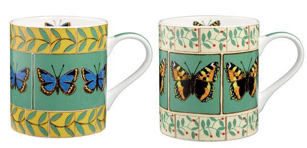 英國骨瓷馬克杯 - Butterflies Assorted 蝴蝶對杯組(Dee Hardwicke 設計款)