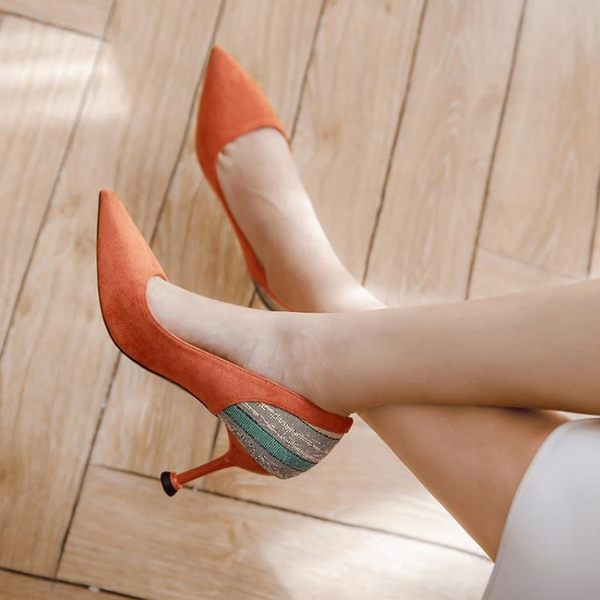 女高跟鞋 韓版女鞋子 淺口職業鞋子新款春尖頭拼色單鞋細跟工作鞋尖頭高跟鞋《小師妹》sm3440