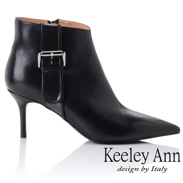 ★2018秋冬★Keeley Ann俐落個性~率性金屬飾釦全真皮短靴(黑色)-Ann系列