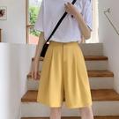 五分西裝短褲女高腰2021新款夏薄款寬鬆直筒新款休閒雪紡寬管中褲 【端午節特惠】