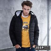 【JEEP】時尚簡約造型圖騰羽絨外套 (黑)