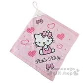 〔小禮堂〕Hello Kitty 可掛式純棉割絨擦手巾《粉白.側坐》34x35cm.毛巾 4712764-01670