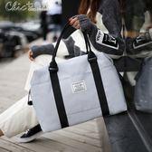 旅行袋 簡約韓版時尚女大容量短途行李包衣服收納袋帆布包「Chic七色堇」