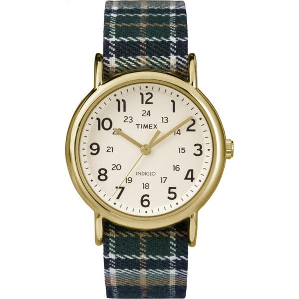 【TIMEX】天美時經典復刻冷光Weekender系列腕錶(米色面/綠藍格紋布帶 TXT2P89500)