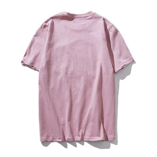 日系時尚街頭素面破洞手工刺線短袖T恤 特色短T