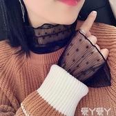 蕾絲打底衫 新款喇叭袖網紗衣鏤空蕾絲衫秋冬內搭打底衫波點韓版疊穿百搭上衣 愛丫