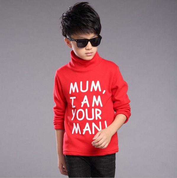衣童趣♥ 韓版男童上衣 冬季新款加厚T恤 字母印花上衣 大童高領保暖上衣