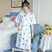睡袍女夏季棉質浴袍衣女士中長款睡裙和服草莓睡衣日系薄款家居服 快速出貨
