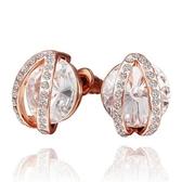 耳環 純銀鍍18K金水晶-鑲鑽高雅生日情人節禮物女飾品3色73cg132【時尚巴黎】