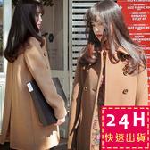梨卡 - 正韓國空運超高質感毛呢外套大衣 - 中長版韓國代購雙排扣立領外套A190