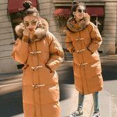 梨卡 - 超美牛角扣氣質毛領防風保暖雪地防潑水超長版鋪棉縮腰仿羽絨外套風衣長大衣AR056