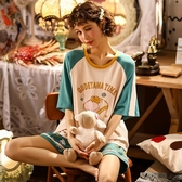 睡衣女夏季棉質短袖長褲學生可愛韓版清新薄款家居服套裝夏天薄款新品上新