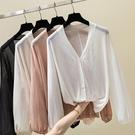冰絲針織開衫女長袖純色防曬衣披肩上衣外套 優一居
