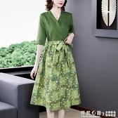 文藝復古碎花亞麻洋裝女夏拼接顯瘦中長款麻料假兩件棉麻裙子 怦然新品