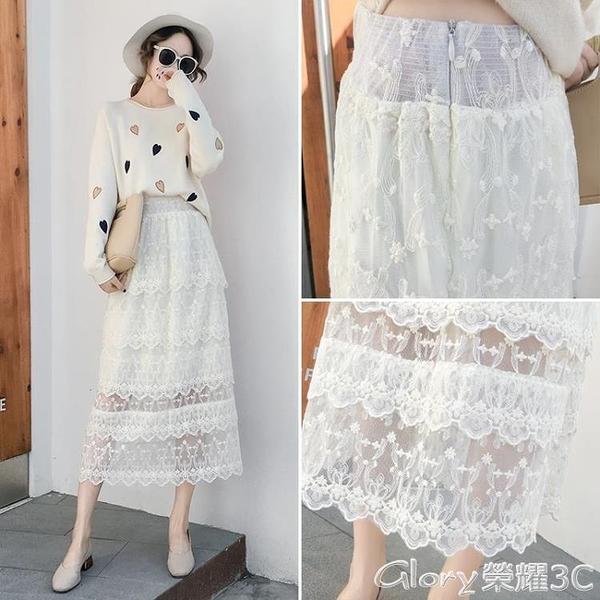 蕾絲半身裙 白色蕾絲蛋糕裙女秋裝長裙紗裙半身裙冬天配毛衣網紗裙超仙裙子潮 榮耀