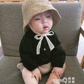 ins爆款夏款兒童草帽韓國寶寶遮陽帽防曬帽沙灘蕾絲漁夫帽子親子  【PINKQ】