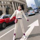 VK精品服飾 韓系圓領刺繡針織修身拼色小腳褲套裝長袖褲裝