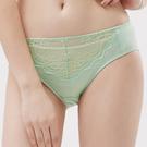思薇爾-玫瑰花宴系列M-XXL蕾絲中腰三角內褲(粉彩綠)