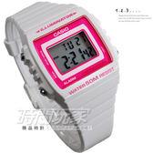 CASIO卡西歐W-215H-7A2 方形 數字錶 超亮LED照明 電子錶 計時碼表 43mm W-215H-7A2VDF 粉紅桃紅