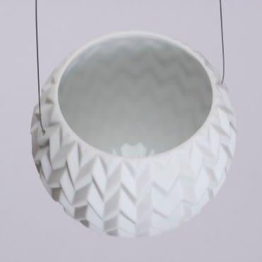 月白百花紋浮雕吊掛花器10 cm