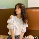 露肩上衣 夏季2021年新款韓版小心機露肩百搭設計感小眾短袖T恤女上衣ins潮 艾家