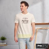 【JEEP】吉普車色塊拼接圖騰短袖TEE(米白)