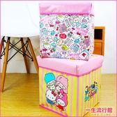 〖LifeTime〗﹝三麗鷗方型收納箱﹞正版仿皮革收納椅 置物箱 收納盒 Kitty 凱蒂貓 雙子星 B01288