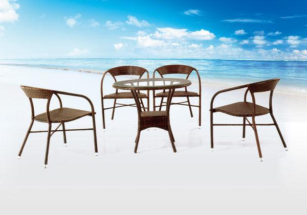 【 IS空間美學】832鋼藤休閒圓桌+660鋼藤休閒椅 (一桌四椅)