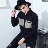 OB嚴選《KL0152-》拼色剪裁造型內織條滾領邊長袖襯衫.2色--適 S~XL