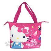 〔小禮堂〕Hello Kitty 尼龍橫式手提袋肩背袋《桃.站姿》便當袋.野餐袋 4713549-18072