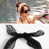 韓國時尚蝴蝶結網紗髮箍髮帶 黑色米色網格 (二入)