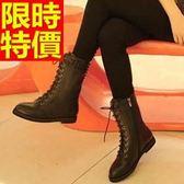 馬丁靴-平跟系帶圓頭鉚釘真皮中筒女靴子4色65d98[巴黎精品]