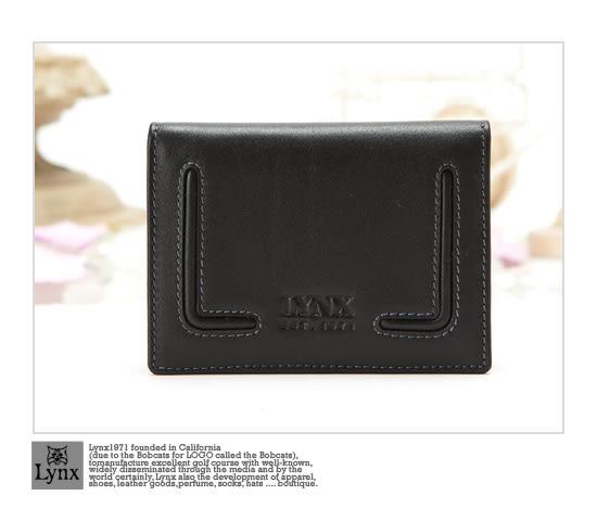 Lynx - 山貓經典品牌風真皮款2卡1照名片夾-質感黑