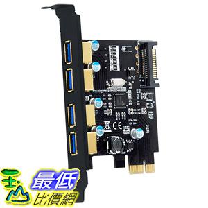 [8美國直購] 擴充卡 Mailiya PCI-E to USB 3.0 4 Port PCI Express Expansion Card (PCIe Card),Superspeed USB 3.0 Card