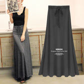 推薦莫代爾半身長裙女夏高腰A字大擺復古中長款側開叉黑色半身裙(818來一發)