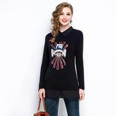 中大尺碼~甜美修身個性圖案刺繡長袖上衣(5XL)