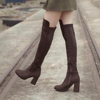 靴.Kimy聯名款-萊卡拼接膝上長靴(限宅配)-FM時尚美鞋-韓國精選.White