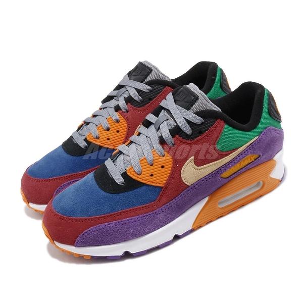 Nike 休閒鞋 Air Max 90 QS Viotech 彩色 色塊拼接 男鞋 紅 紫 綠 藍 休閒鞋 【PUMP306】 CD0917-600