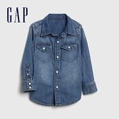 Gap男幼童 時尚水洗翻領青年布長袖襯衫 600587-藍色