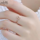 鈦鋼鍍18k玫瑰金小雛菊花朵戒指女日韓關節食指清新文藝氣質指環
