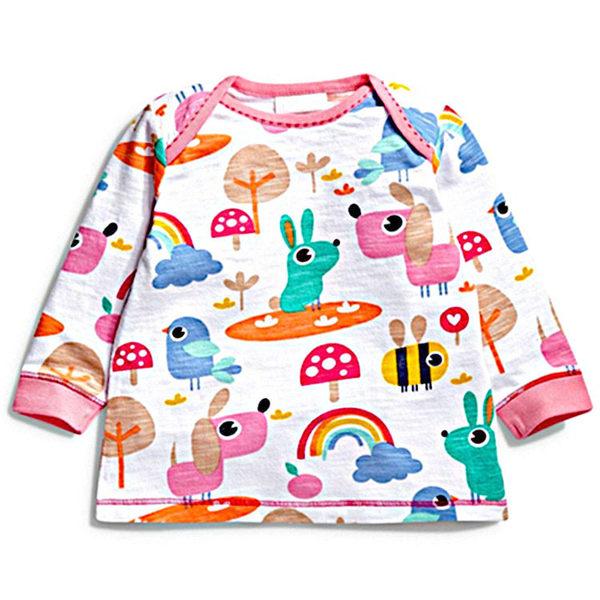 女Baby女童裝長袖T恤白色可愛小狗印花純棉長袖上衣現貨 歐美品質