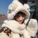 熱賣羊羔毛帽子 秋冬女甜美熊耳朵仿羊羔毛圍巾帽子手套三件套保暖雷鋒帽滑雪帽【618 狂歡】