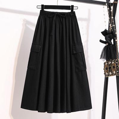 M-5XL大碼半身長裙~胖妹妹大概碼純色工裝傘裙洗水純棉中長大碼款半身裙MC077衣時尚