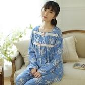 睡衣-長袖優雅復古方領碎花棉質女居家服套裝3色73ol24【時尚巴黎】