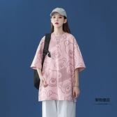 韓版T恤女寬鬆港風卡通衣服休閒百搭短袖【聚物優品】